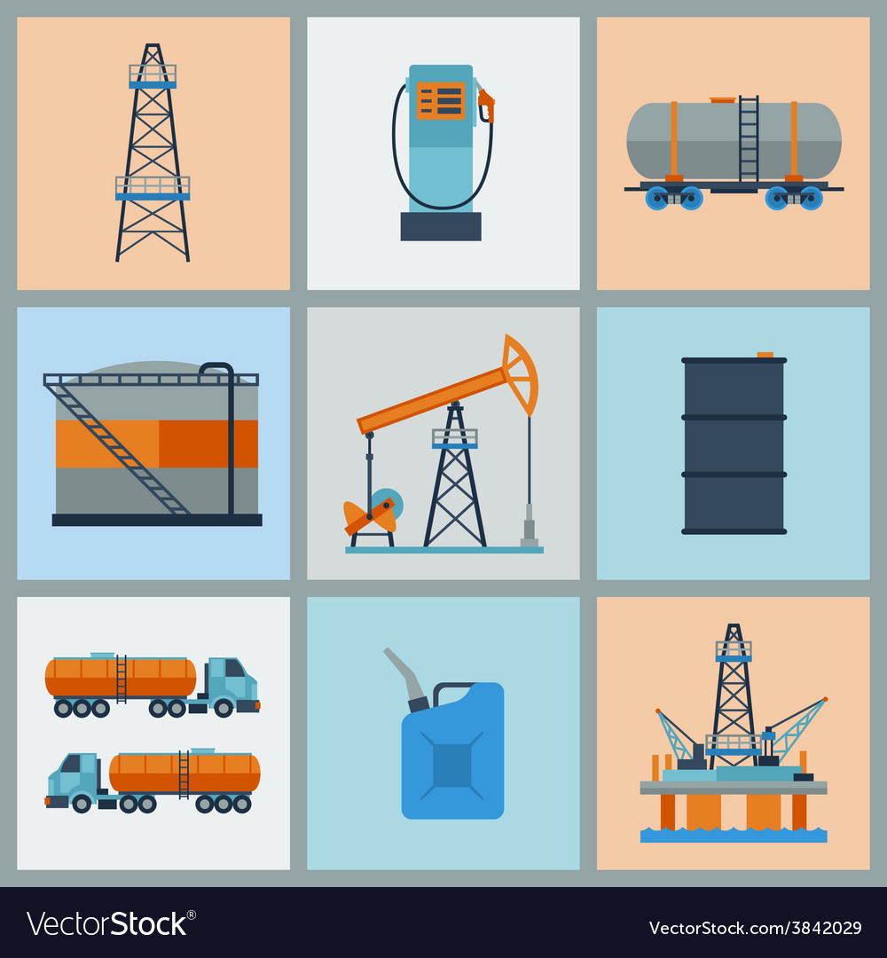 Industrial set of oil and petrol icon vector image