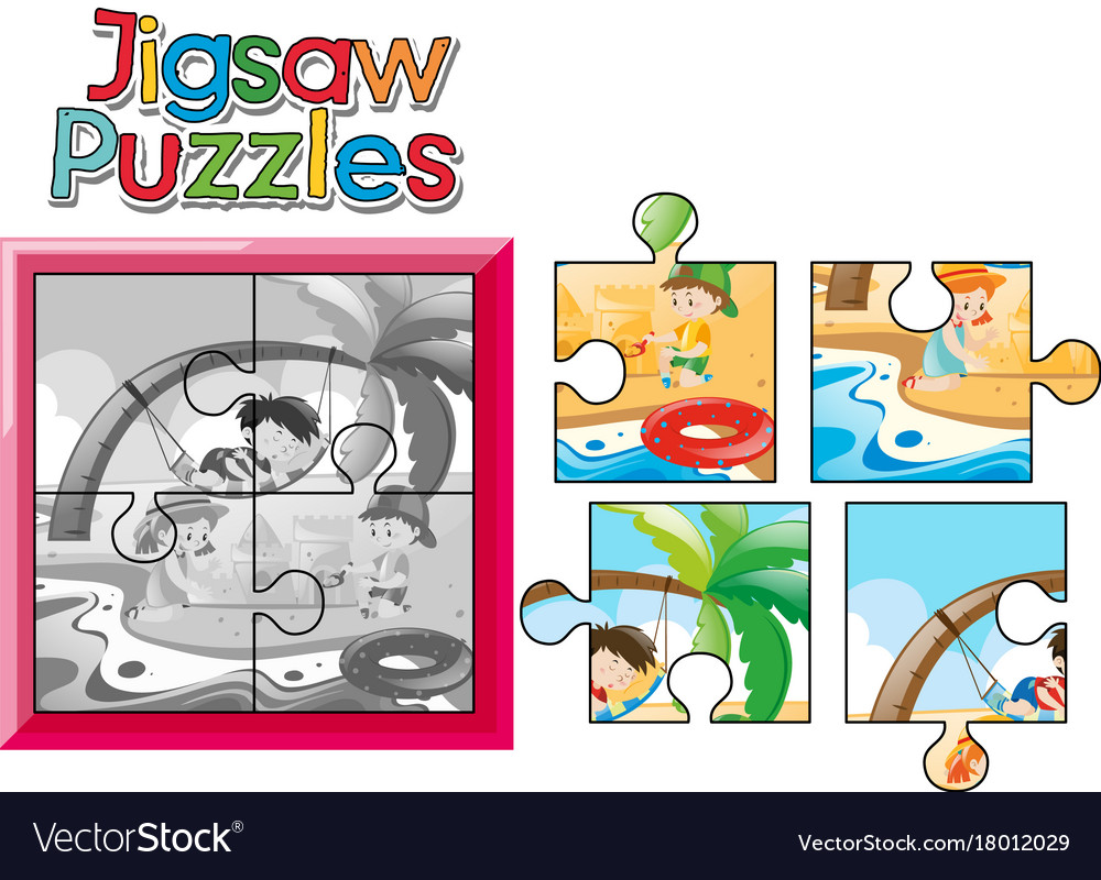 Jigsaw Puzzle Game With Kids On The Beach Vector Image