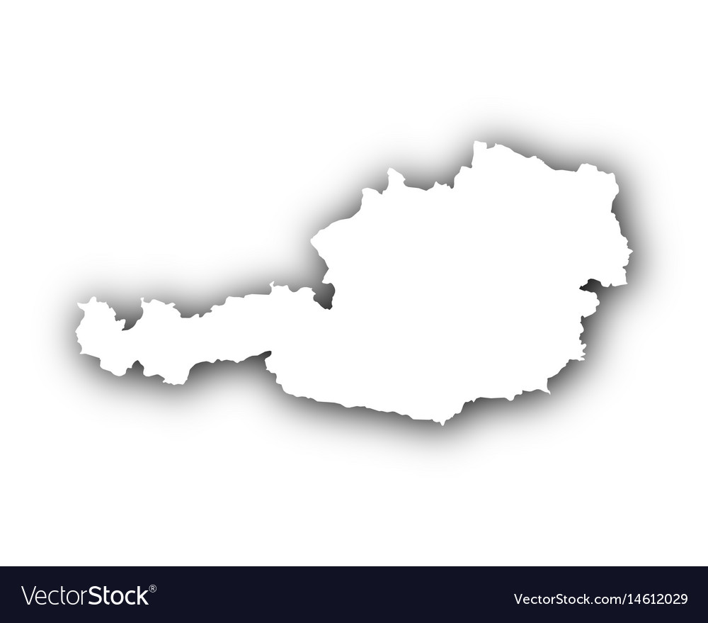 Map of austria with shadow vector image