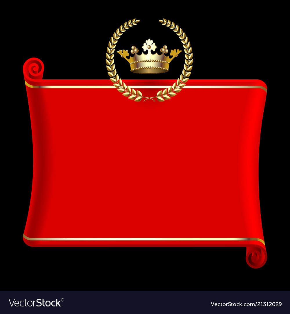 Red banner with gold crown and laurel wreath