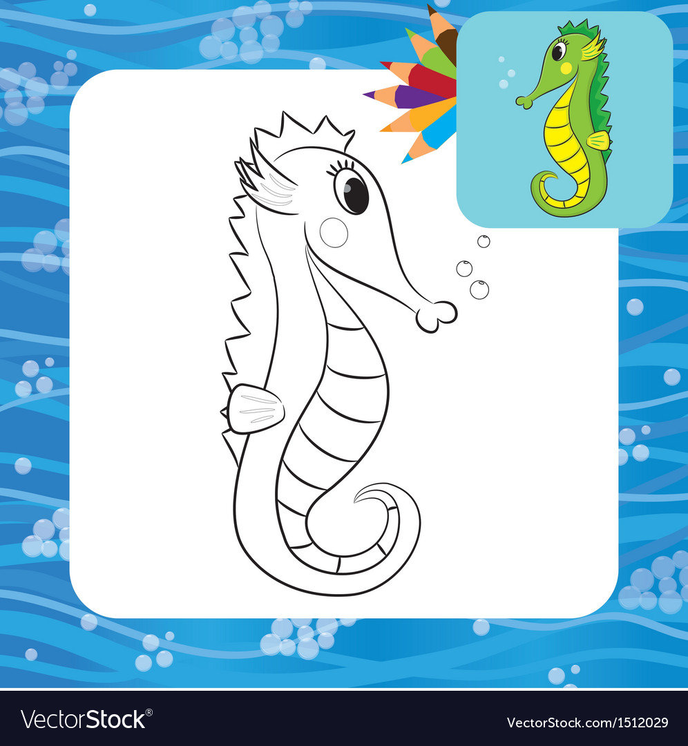 Sea Horse Coloring Page Vector Image
