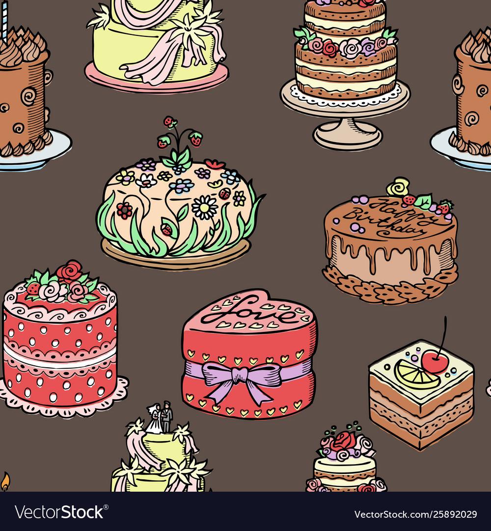 Seamless pattern with wedding birthday and big
