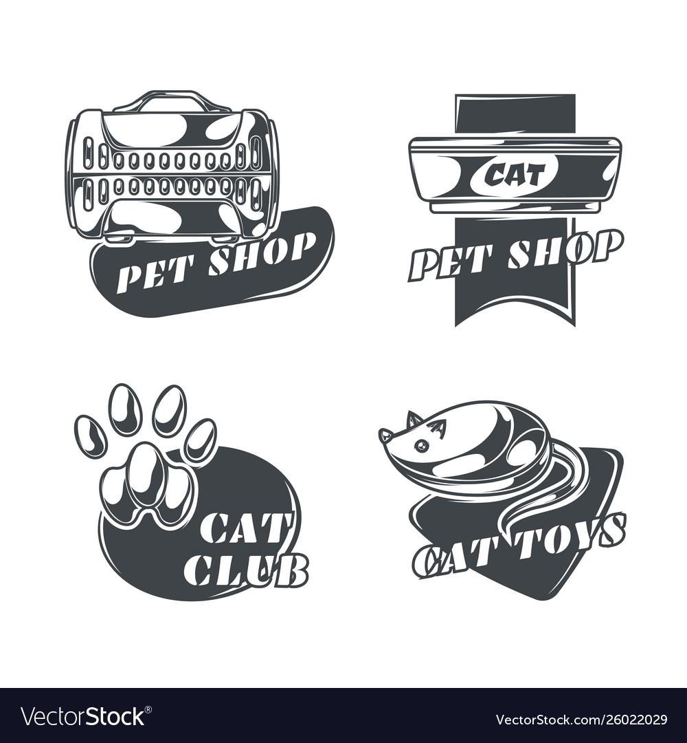 Set cats emblems labels badges logos
