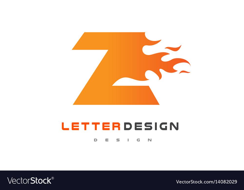 Z Letter Flame Logo Design Fire Lettering Vector Image