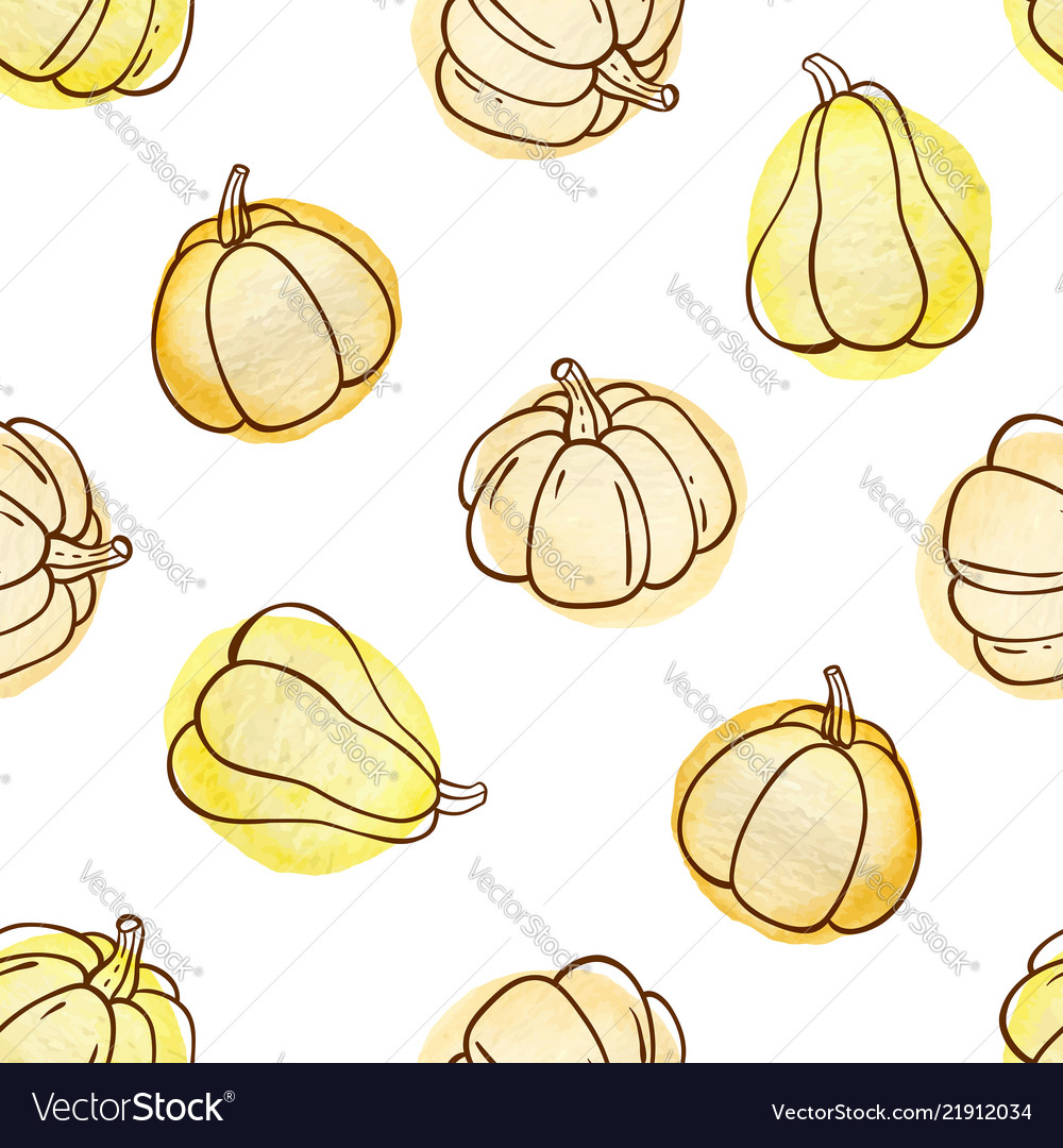 Autumn doodle seamless pattern with pumpkins