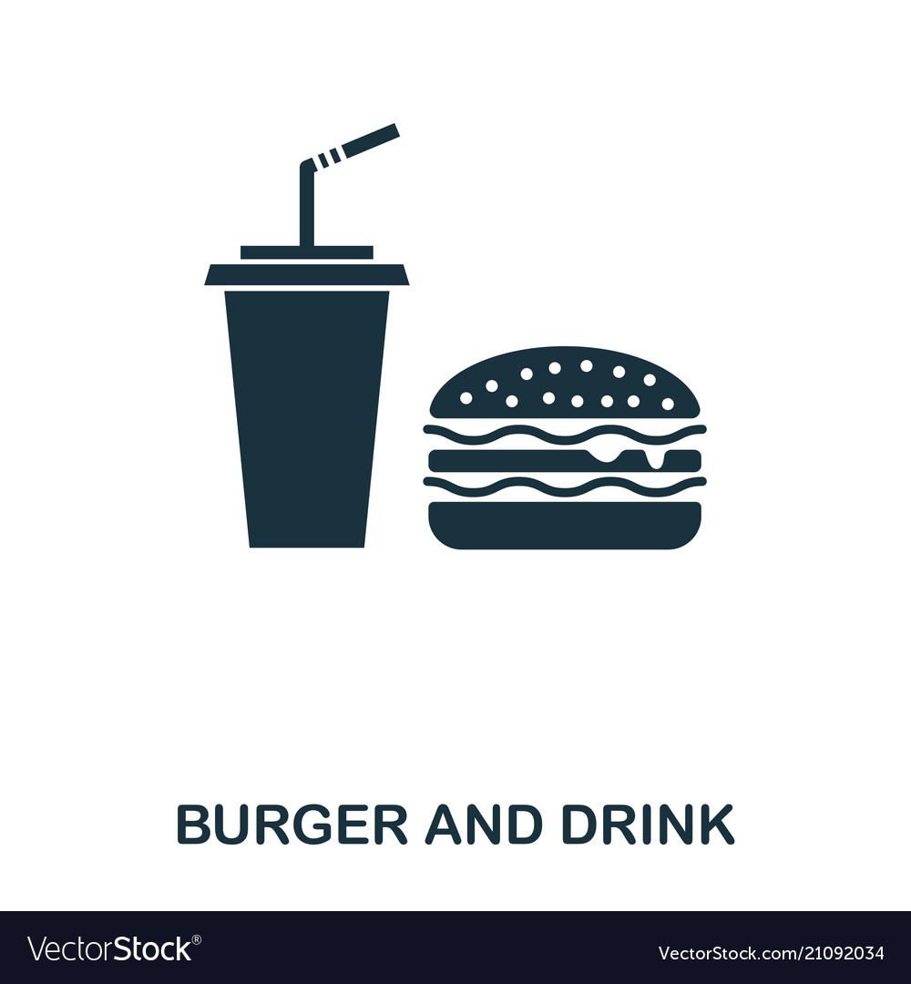 Burger and drink icon mobile apps printing and