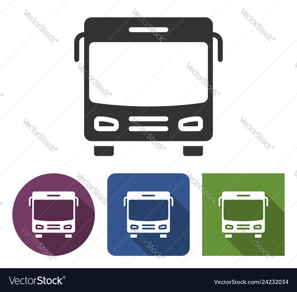Bus icon in different variants with long shadow