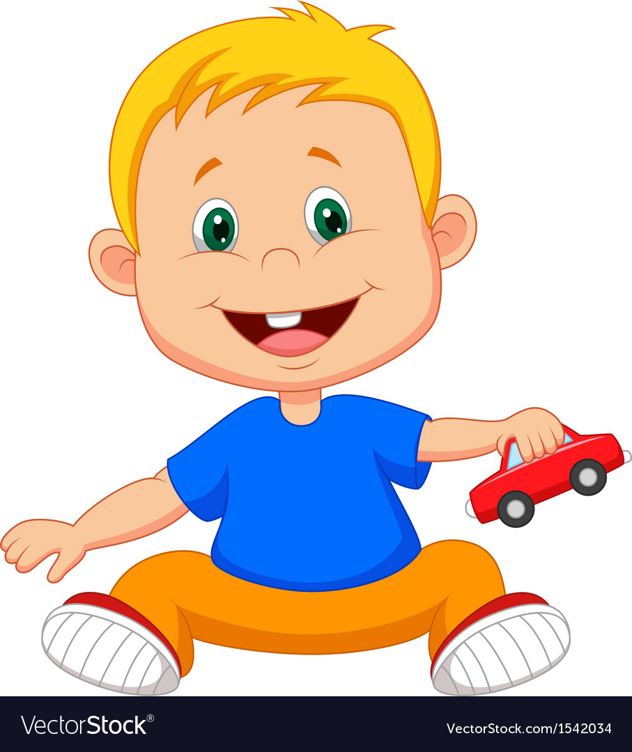 Cartoon Baby Playing Car Toy Royalty Free Vector Image