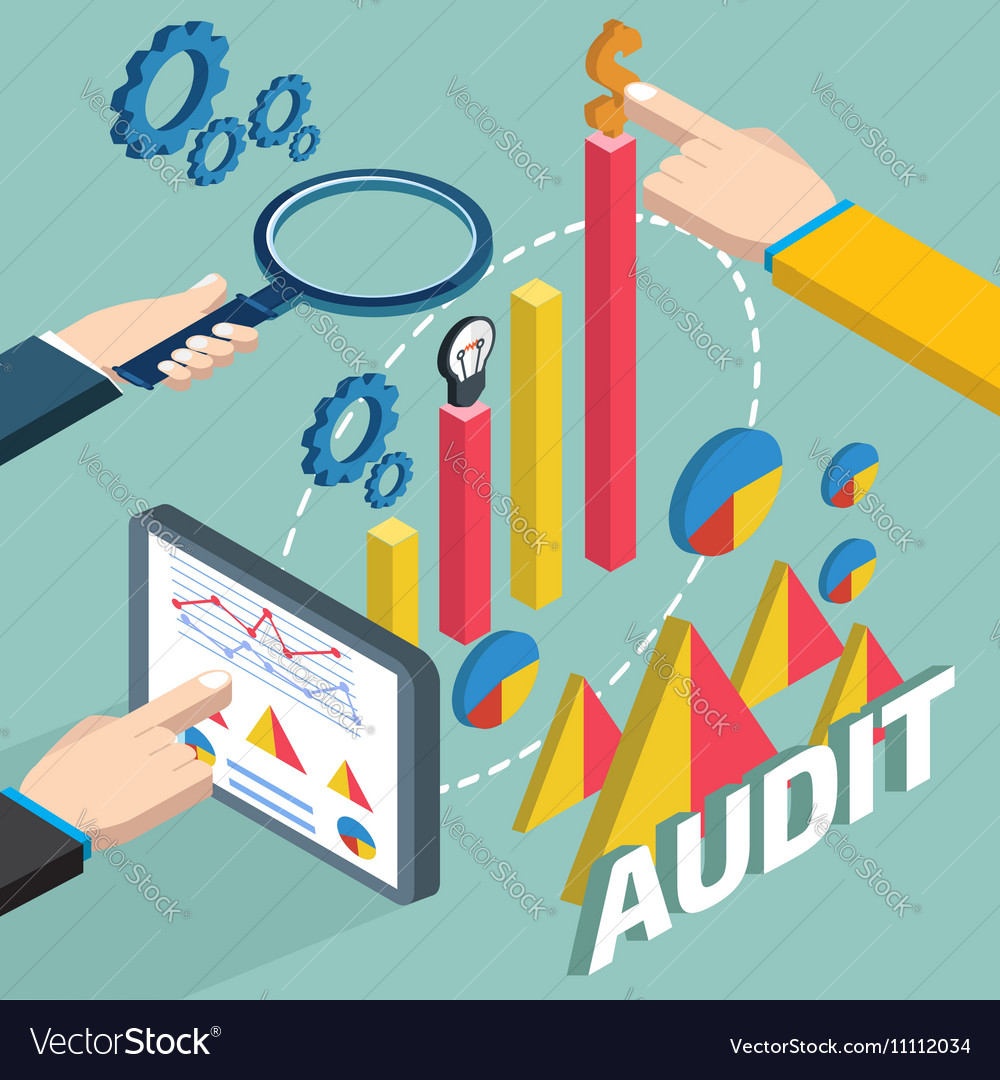 Financial examiner isometric concept vector image