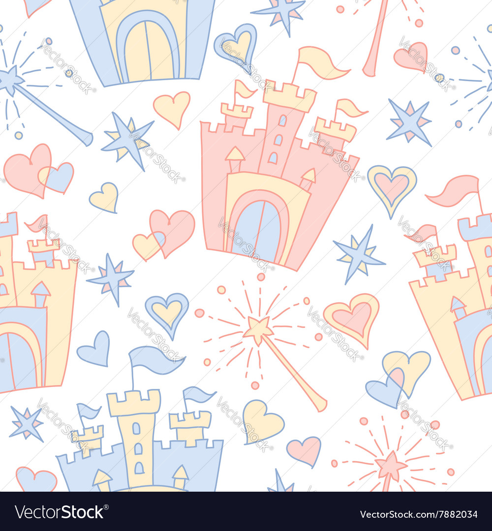 Hand drawn seamless princess pattern
