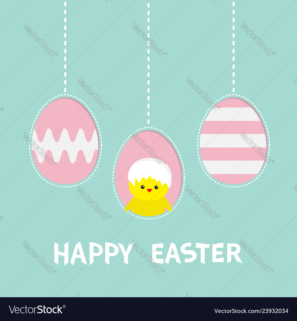 Happy easter text three painting egg hanging