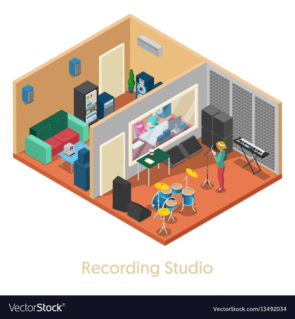 Isometric music recording studio interior