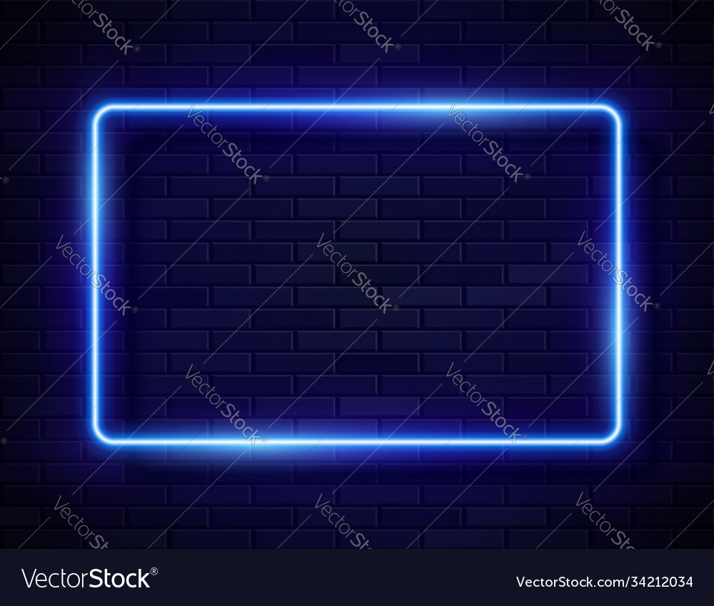 Neon glowing rectangle frame for banner on dark