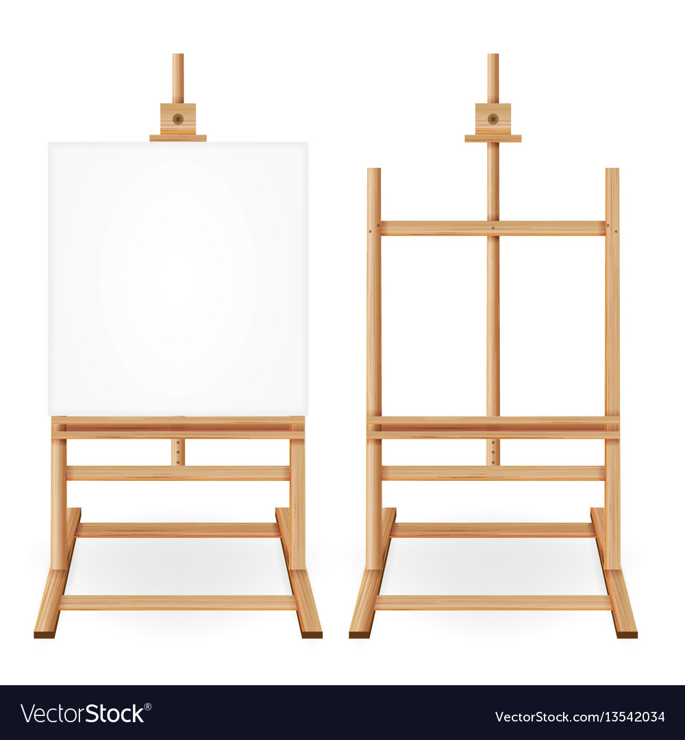 Paint desk wooden easel with empty white vector image