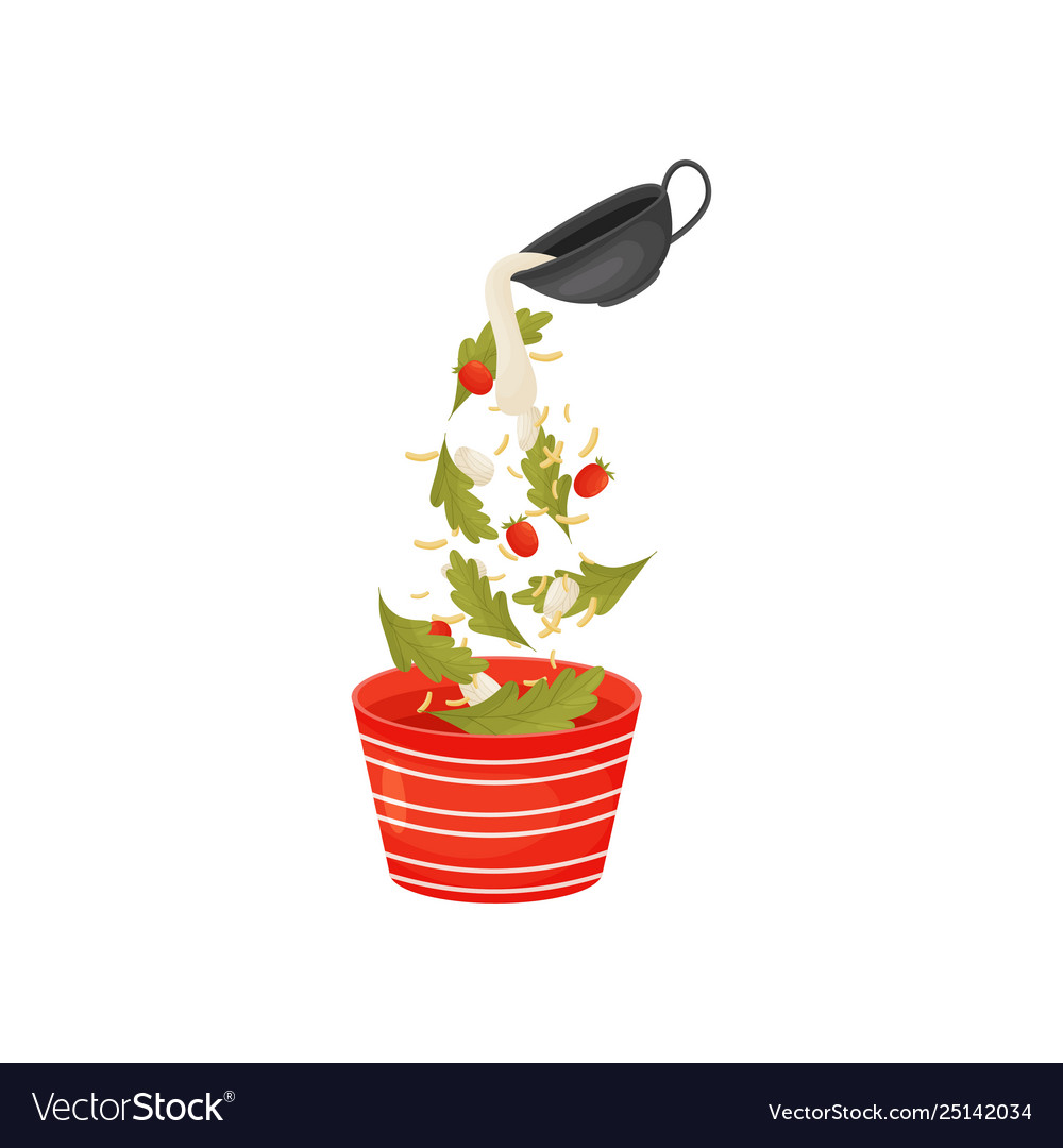 Pour berries and leaves for salad in the
