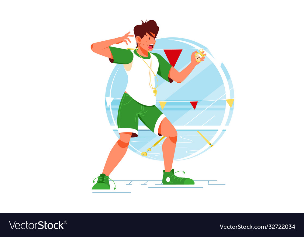 Screaming sport coach swimming man with stopwatch