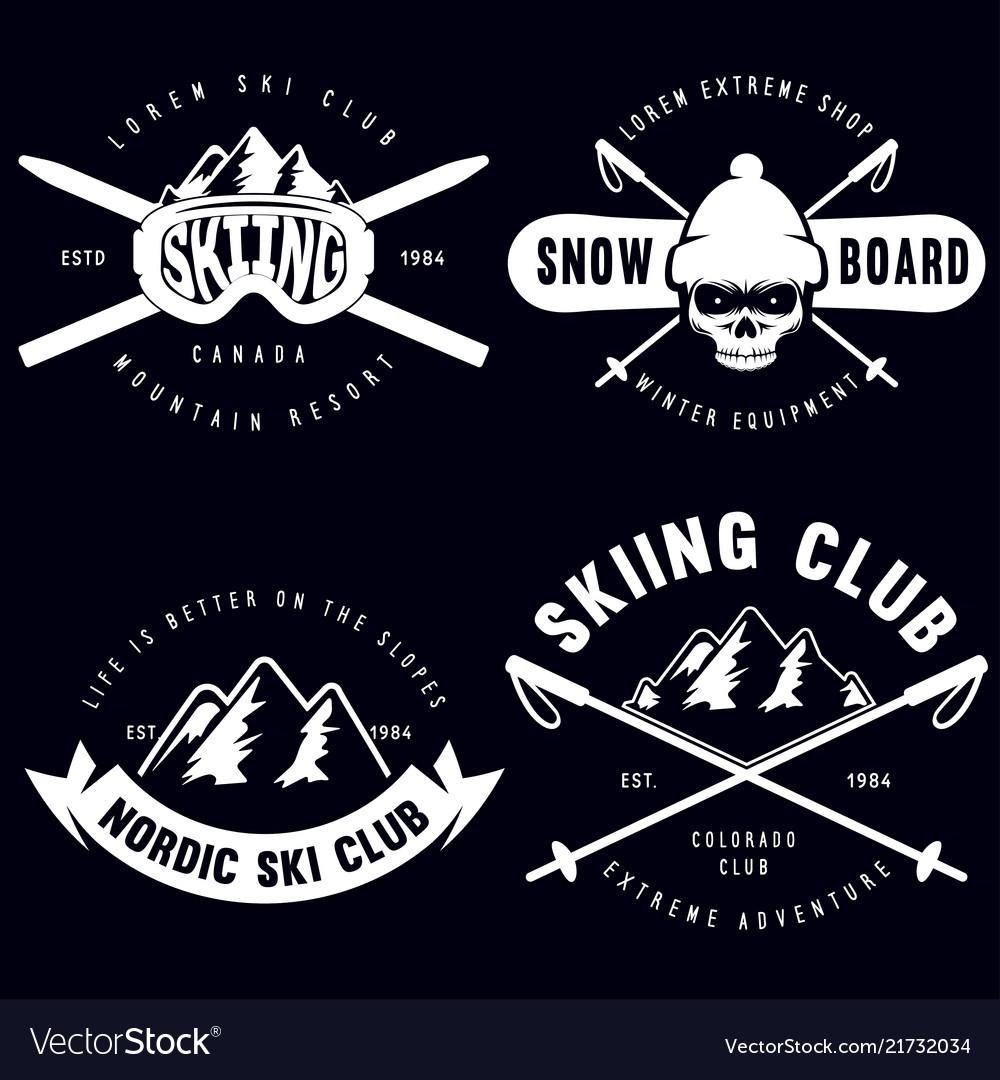 Set of vintage snowboarding ski or winter sports