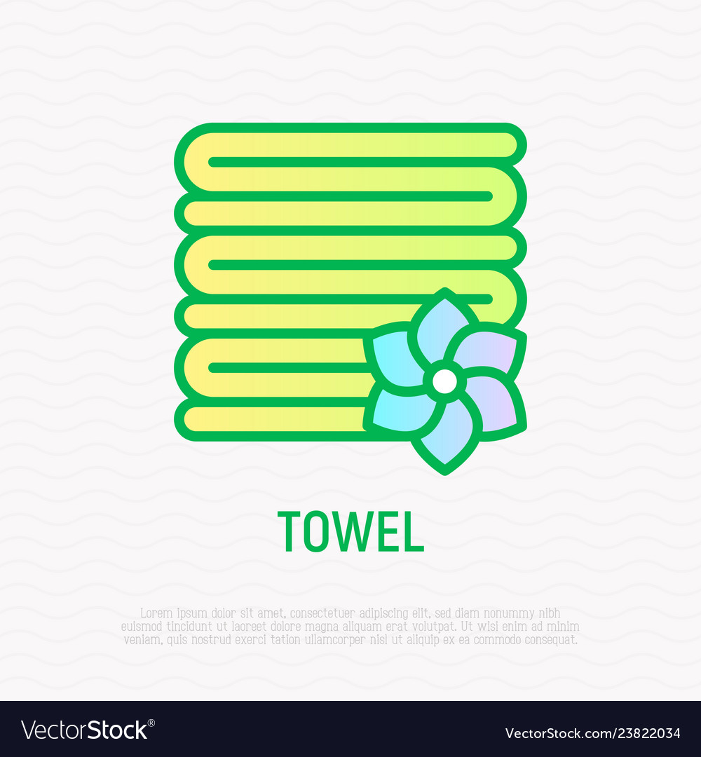 Stack of folded towels thin line icon