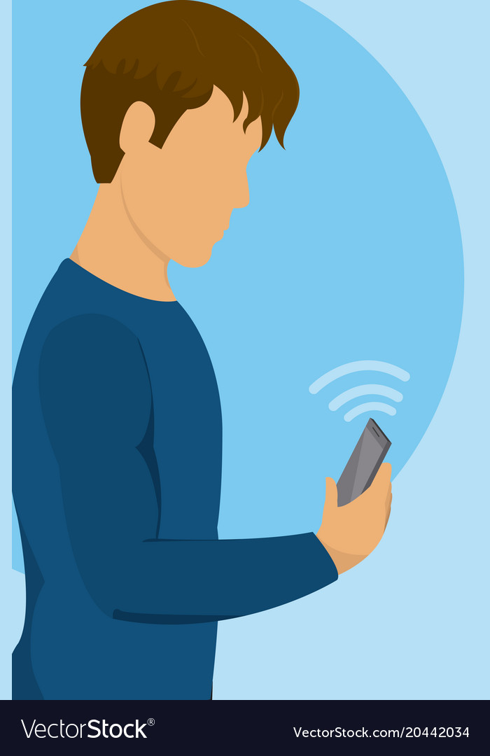 Young man with smartphone on internet wifi signal