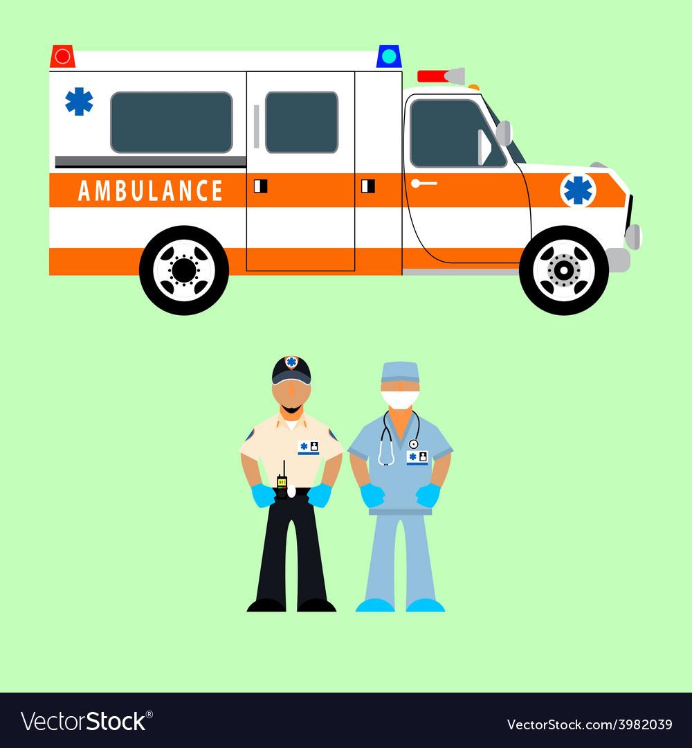 Ambulance and medical team vector image