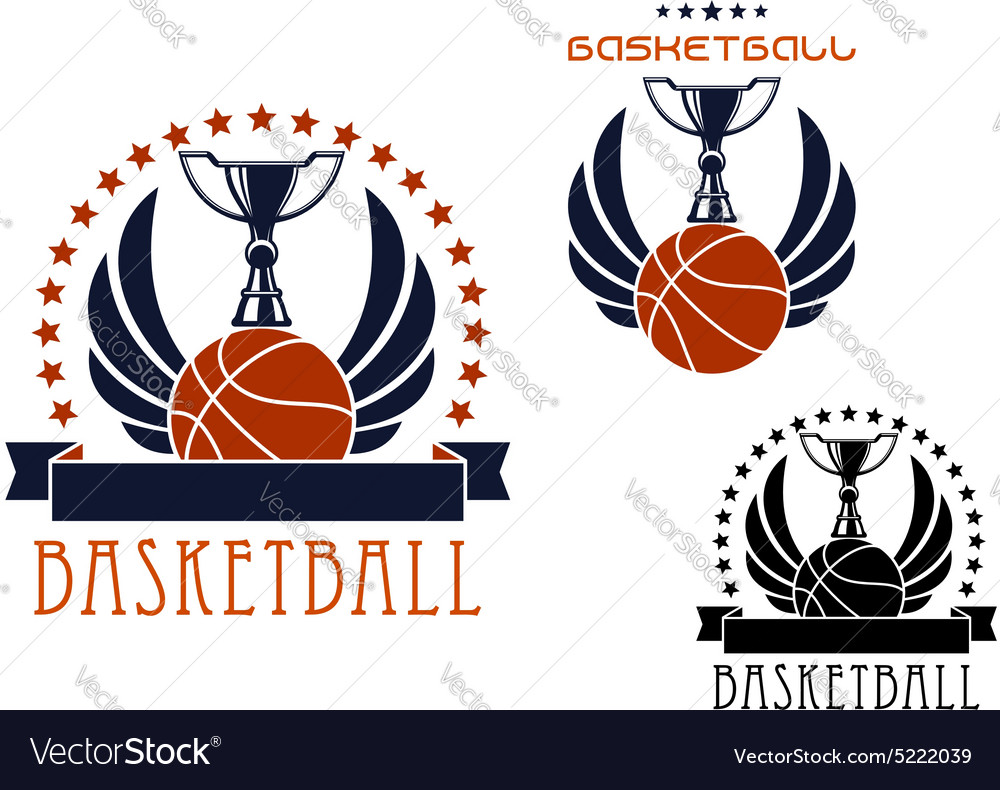Basketball sporting emblems with game items