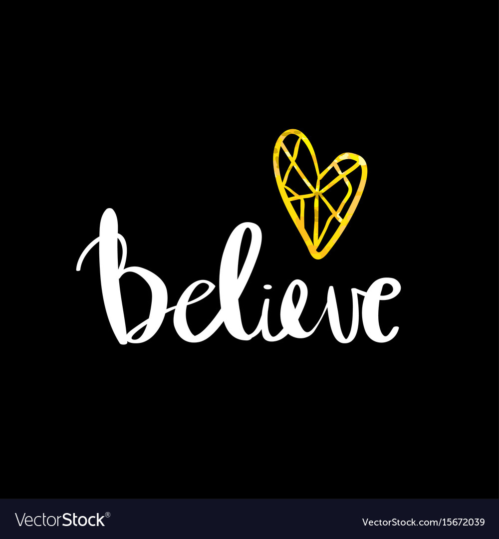 Believe lettering card inspirational