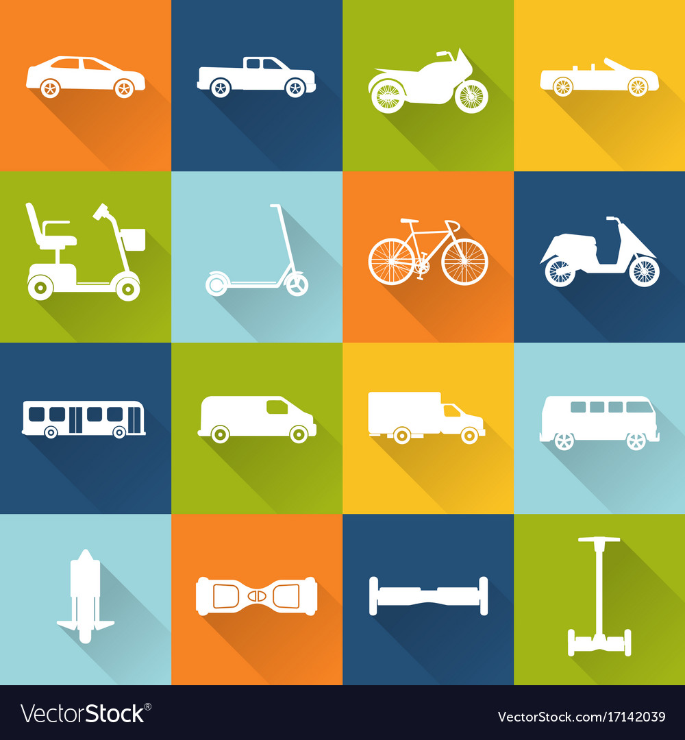 Collection of transport icons silhouettes