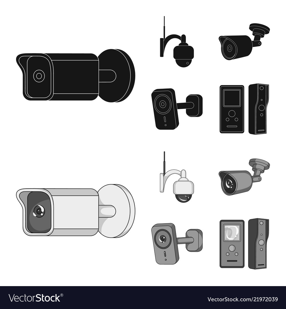 Design Of Cctv And Camera Symbol Set Of Royalty Free Vector