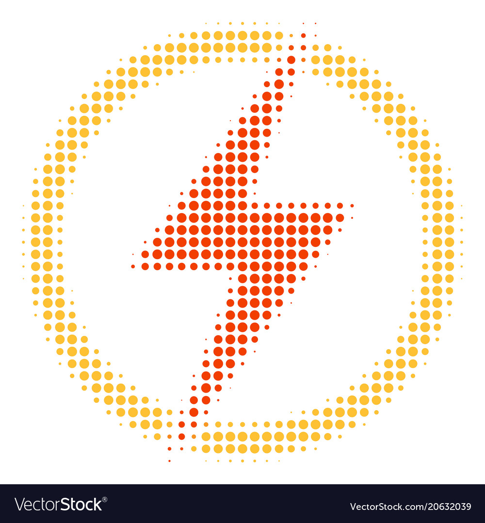 Electric power halftone icon Royalty Free Vector Image
