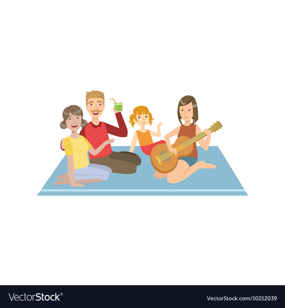 Family On Picnic WIth Guitar