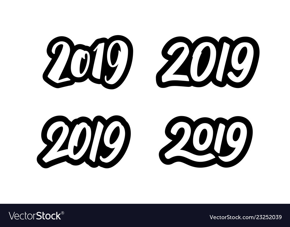 Set of new year 2019 calligraphy numbers