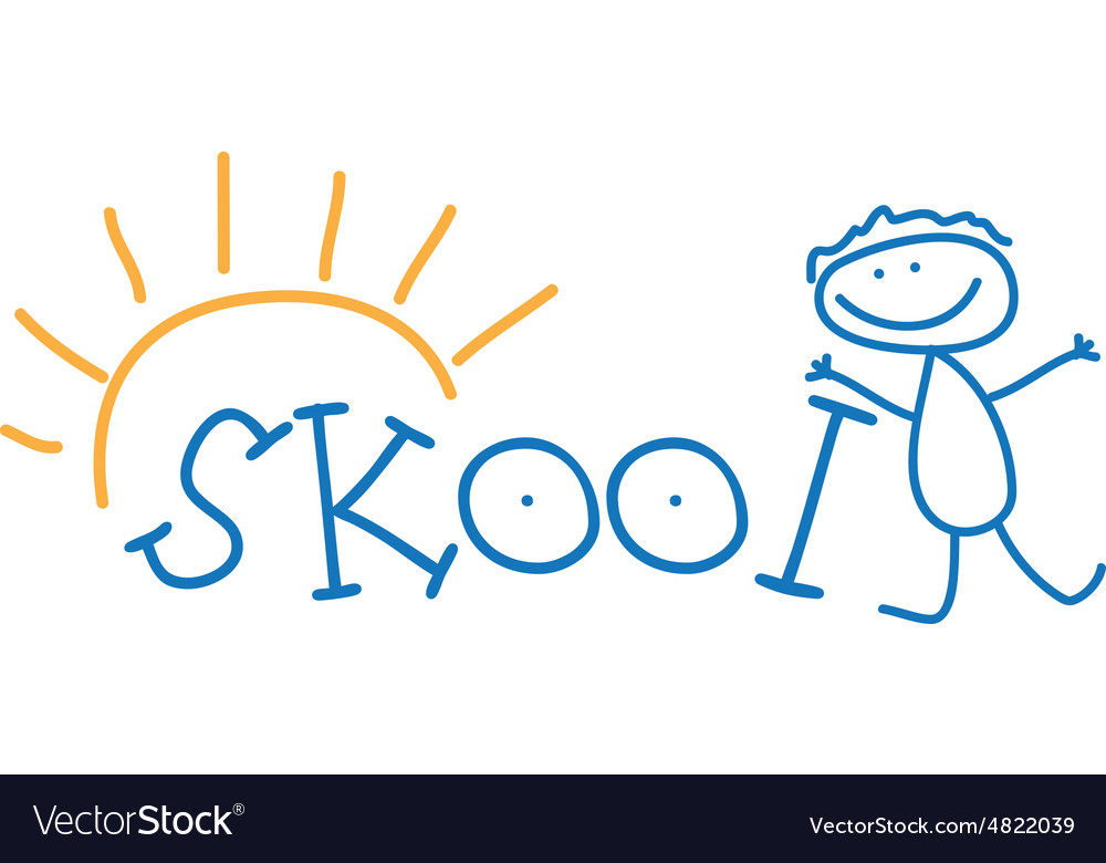 Text school and doodle kid