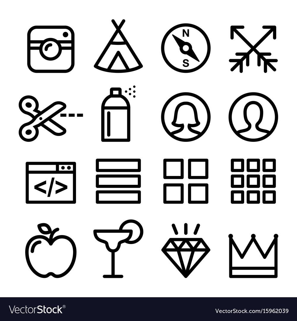 Web line icons website navigation flat design ico