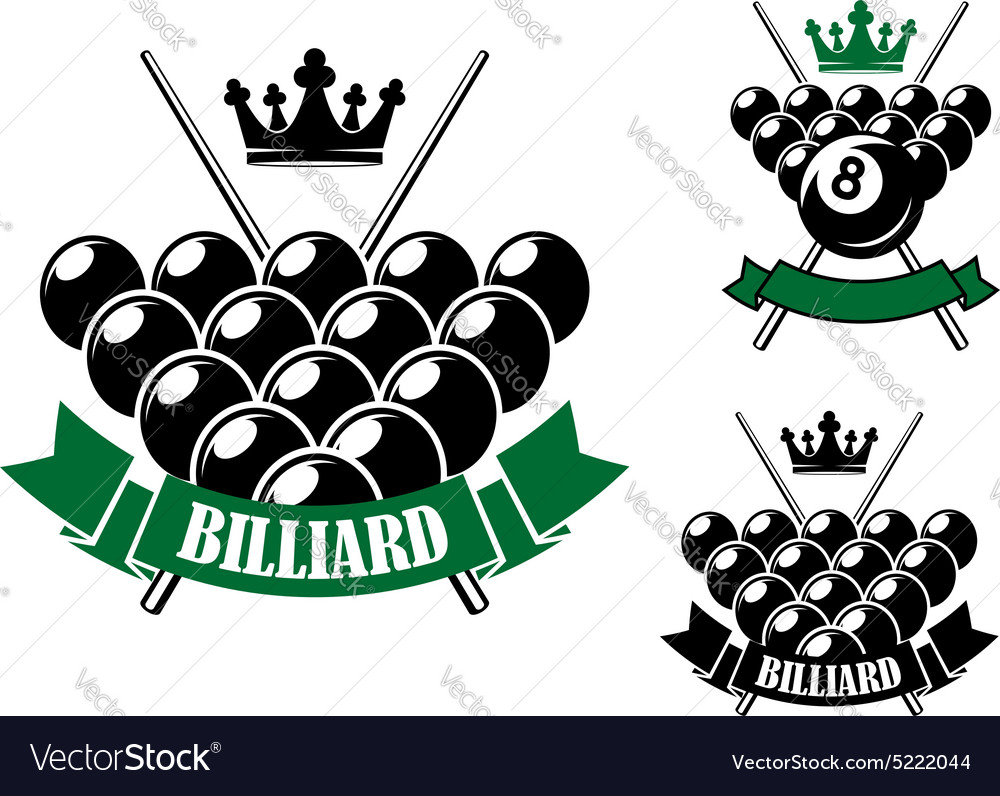 Billiards icons with cues and balls