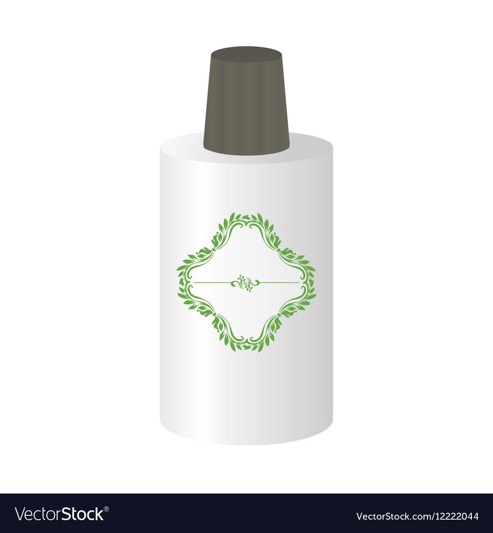 Bottle mockup with decorative sticker vector image