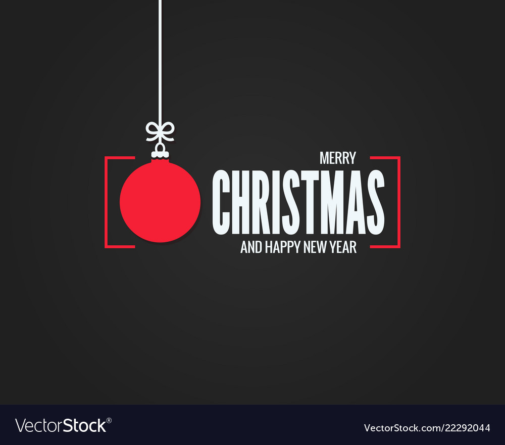 Christmas card with merry xmas ball on black