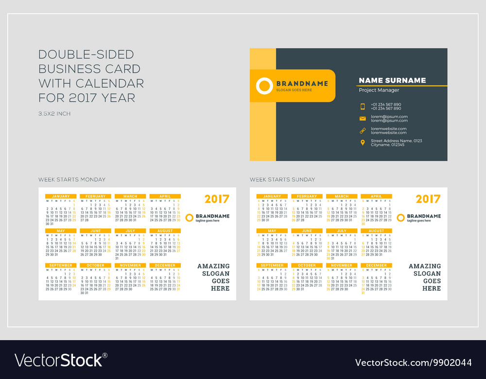 Doublesided Business Card Template With Calendar Vector Image - Double sided business card template