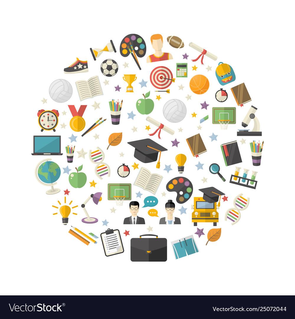 Educationknowledge icon set in circle