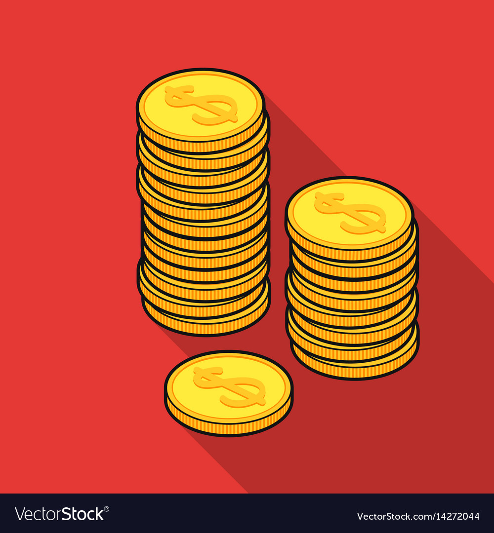 Golden coins icon in flat style isolated on white