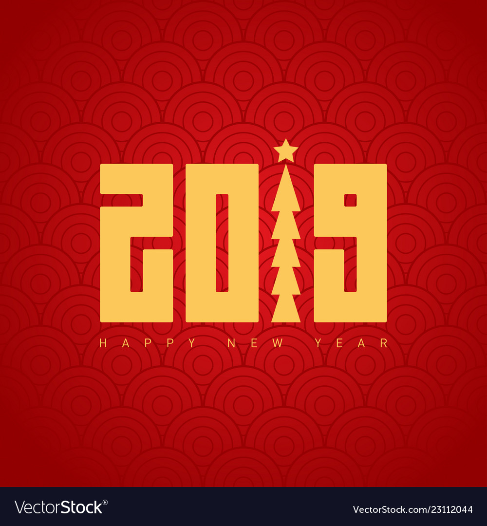 Happy new year 2019 greeting card with pattern