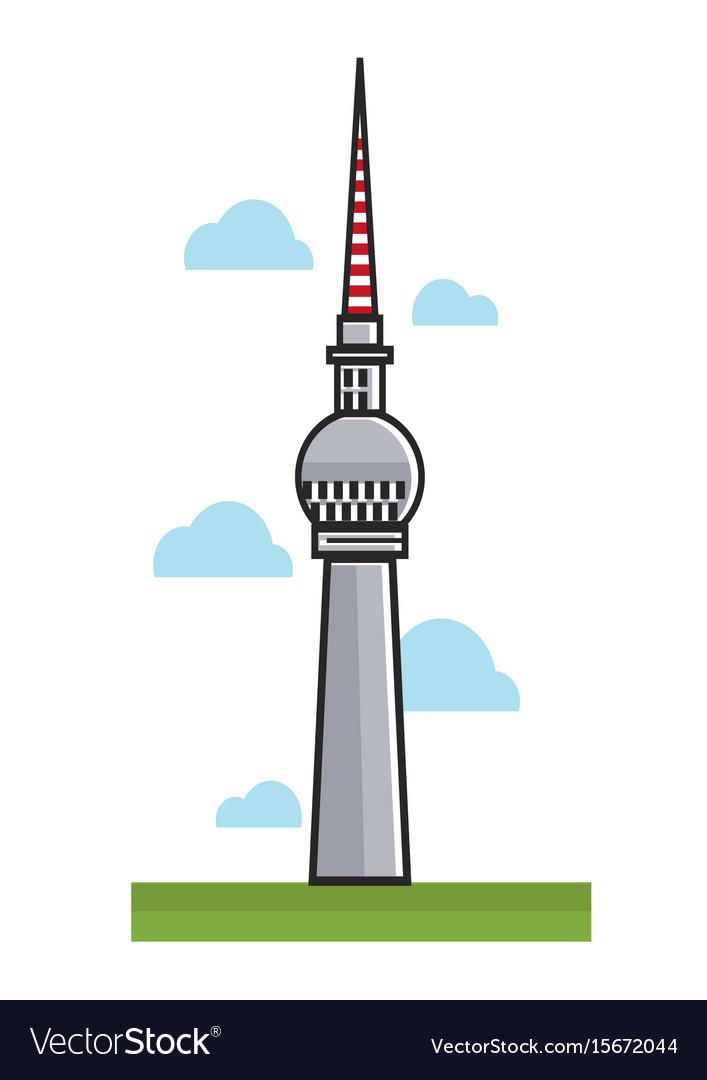 High berlin tv tower among clouds cartoon