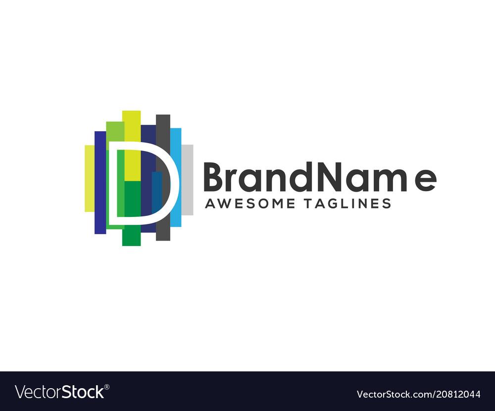Letter d logo with colorful paint stripes