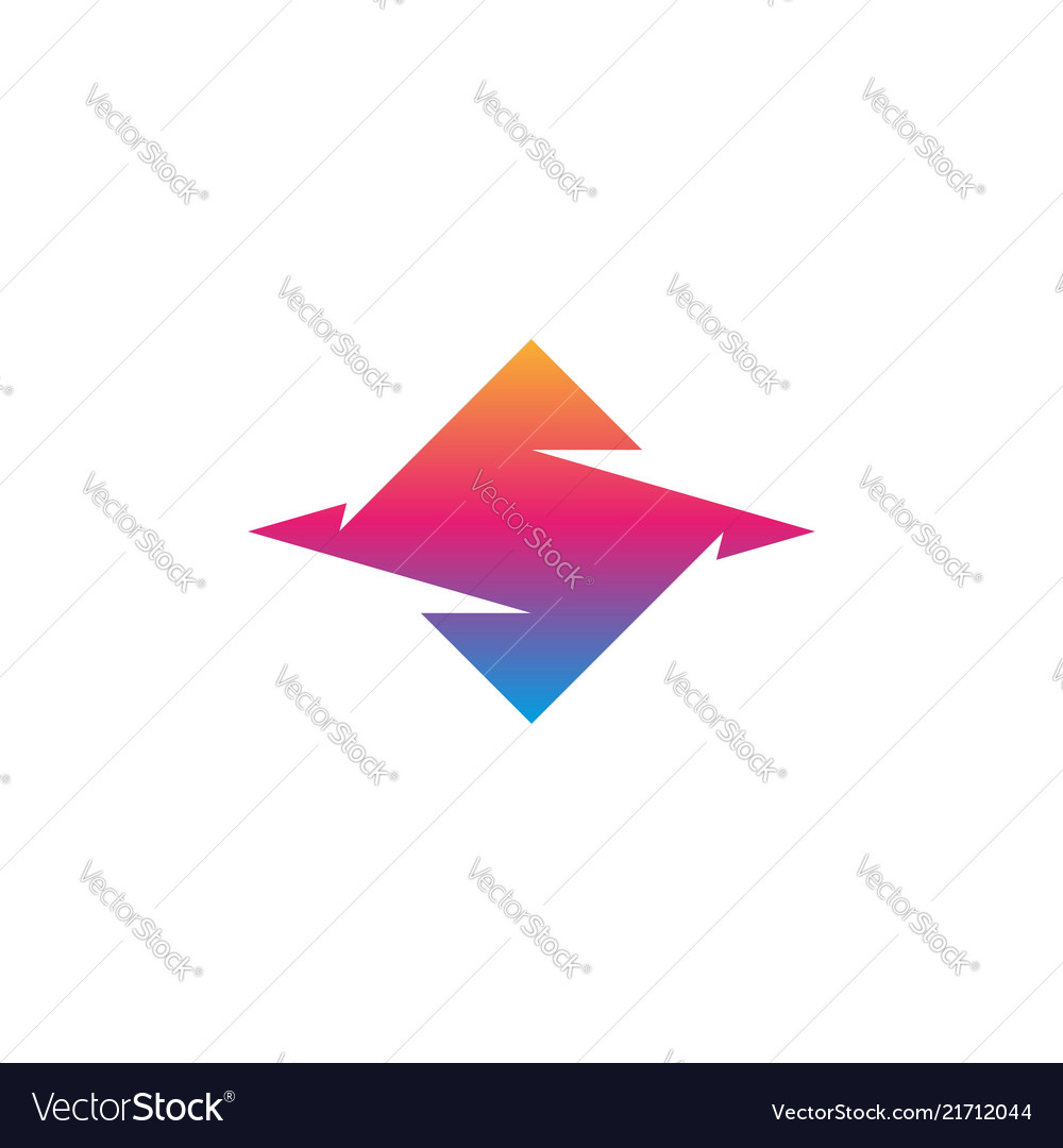 Letter s logo abstract hooked geometric shape of