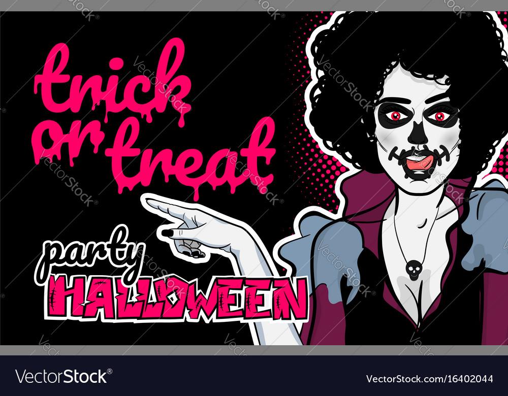 Pop art halloween zombie sexy woman