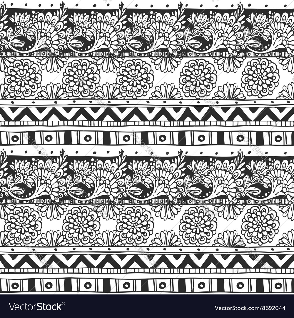 Seamless ornament from flower doodles and