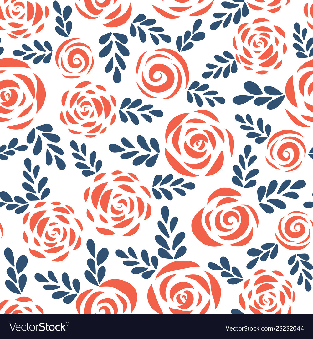 Seamless pattern abstract roses red blue