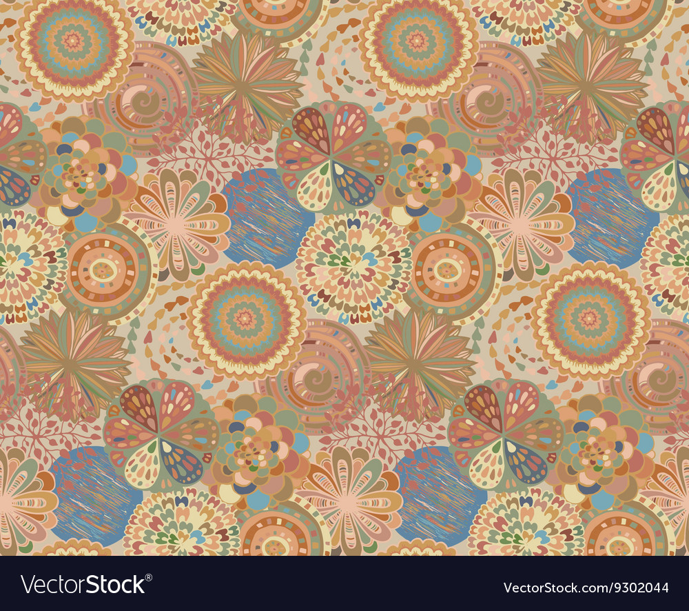 Seamless pattern with hand drawn fancy circle