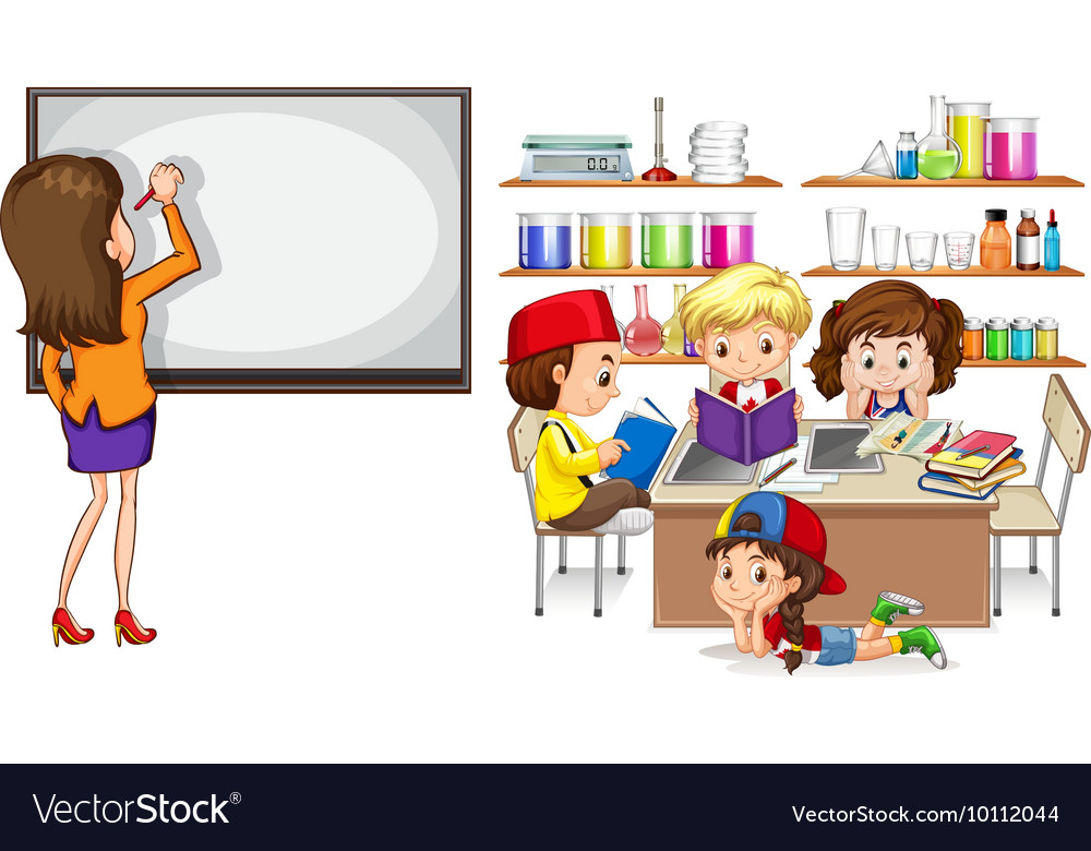 Teacher and children in the classroom vector image