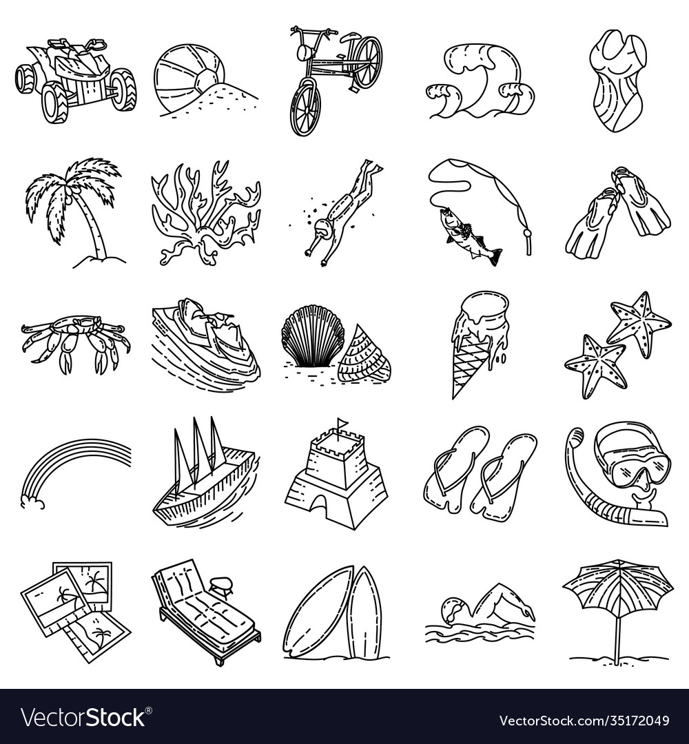 Beach holiday set icon doodle hand drawn or