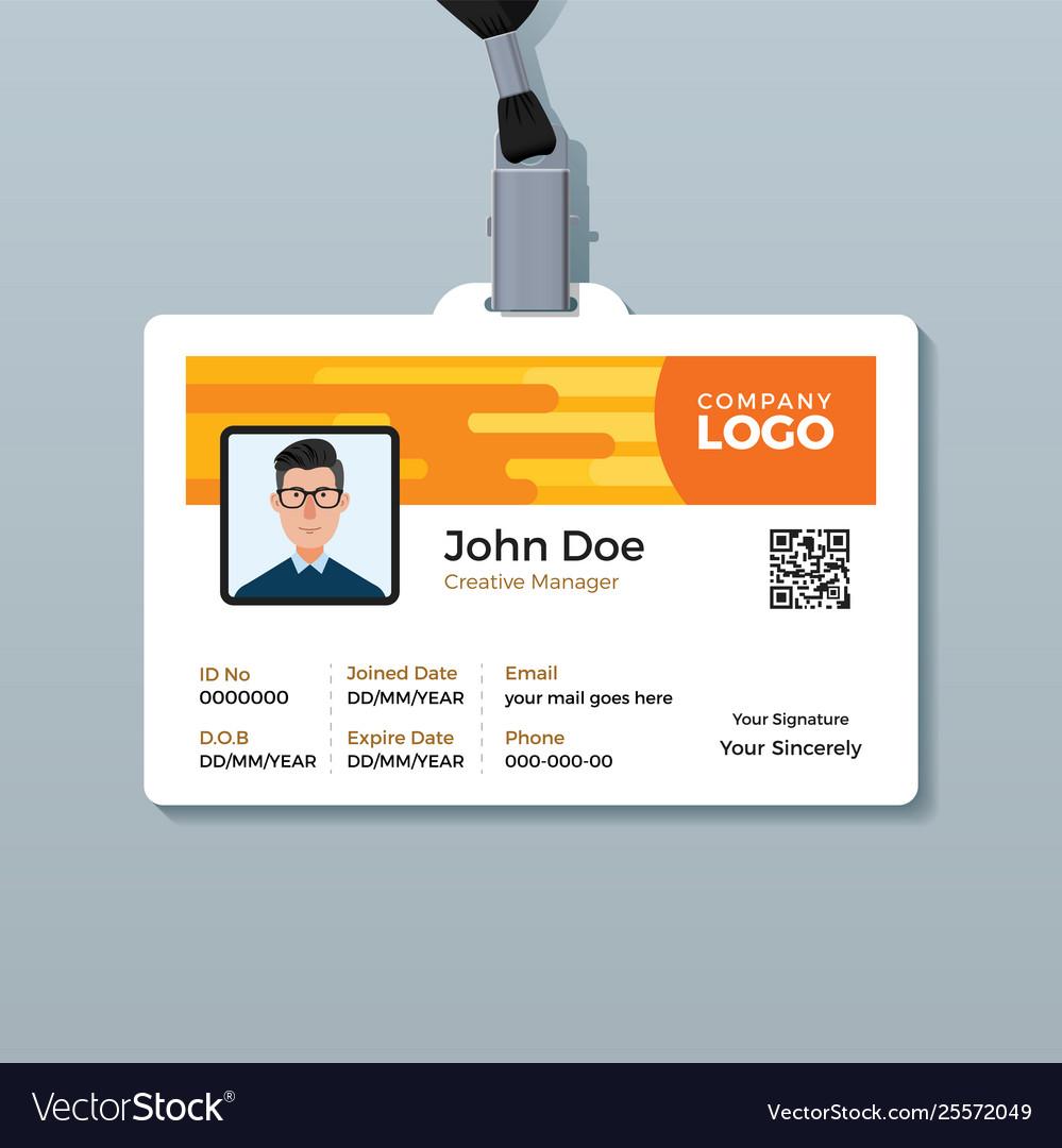 Creative Employee Id Card Design Template Vector Image